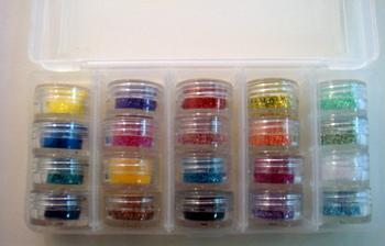 diferentes tonos de purpurina con estuche plstico para fcil